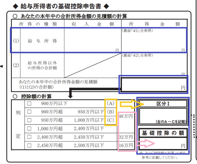 基礎 控除 申告 書 計算 ツール